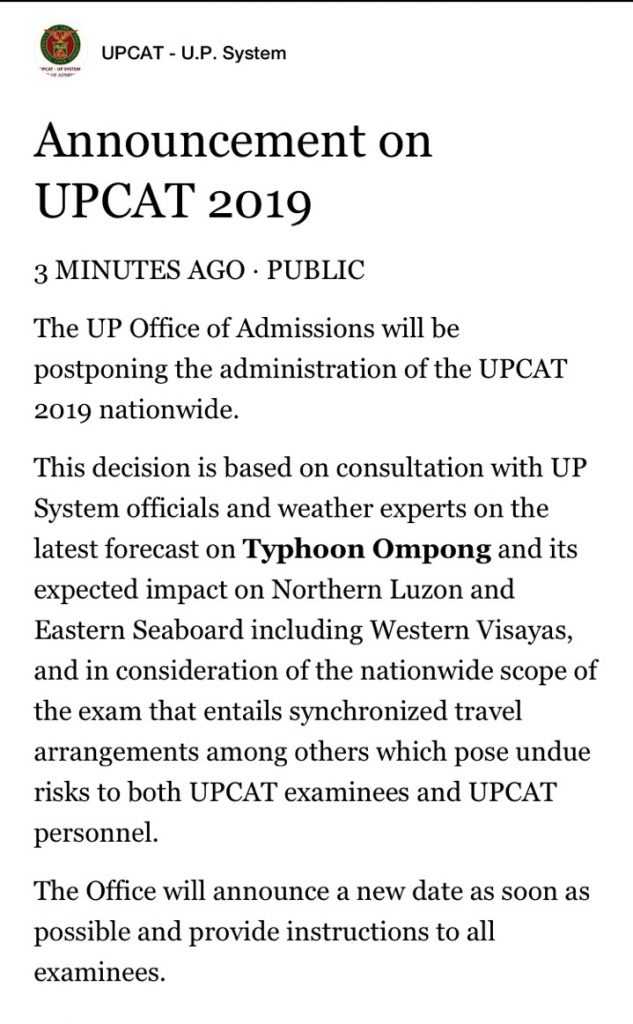 Attention: Grade 12 Students Postponement of UPCAT 2019