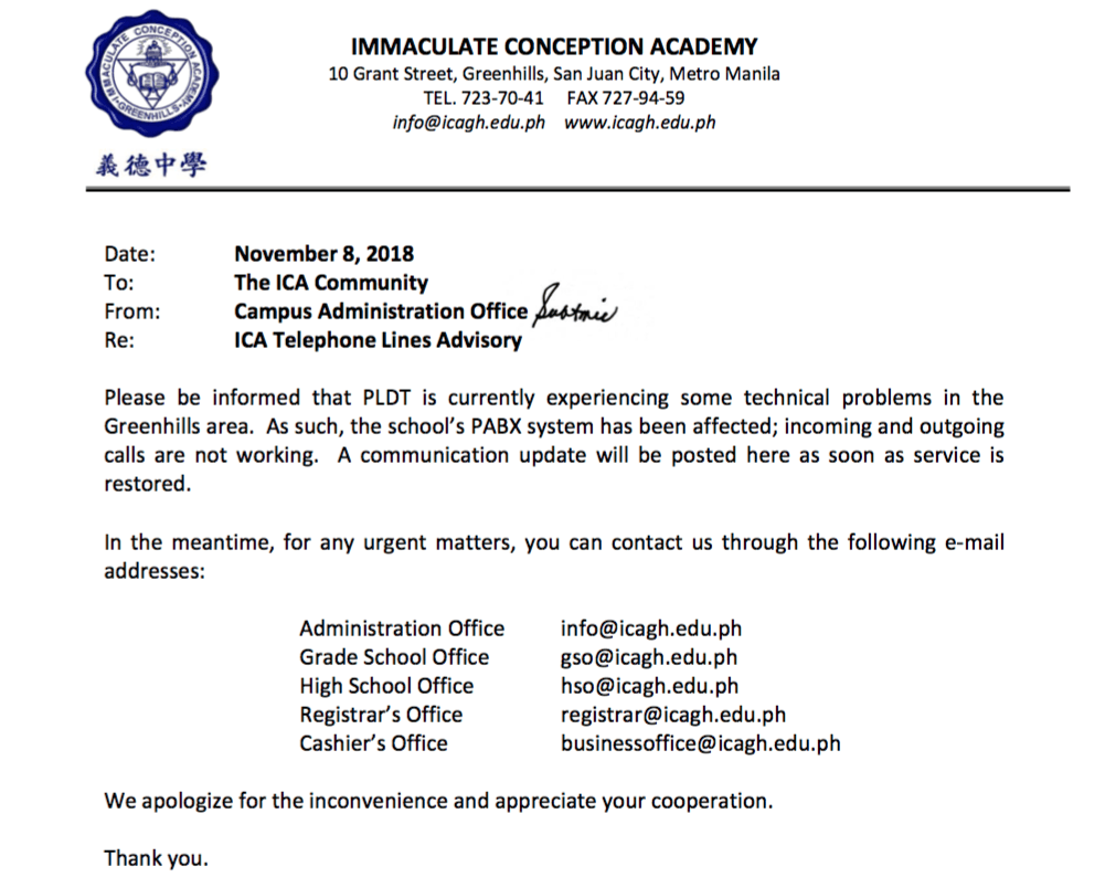 Ica contact info